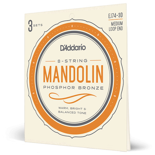D'Addario Phosphor Bronze Mandolin Strings; 3-Pack
