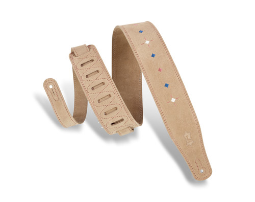 Levy's Suede Leather Guitar Strap w diamond dash pattern; sand