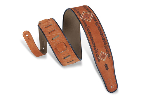 Levy's Suede Leather Guitar Strap w embroidered design; brown