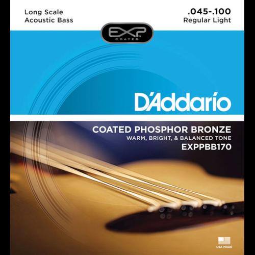 D'Addario EXP Coated Phosphor Bronze Acoustic Bass Guitar Strings; 45-100