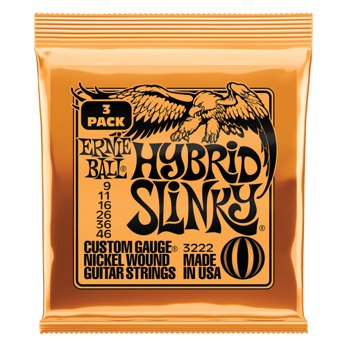 Ernie Ball Hybrid Slinky Electric Guitar Strings 9-46; 3-Pack