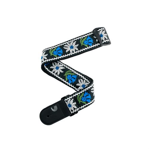 D'Addario Peace & Love Black/Blue Woven Guitar Strap