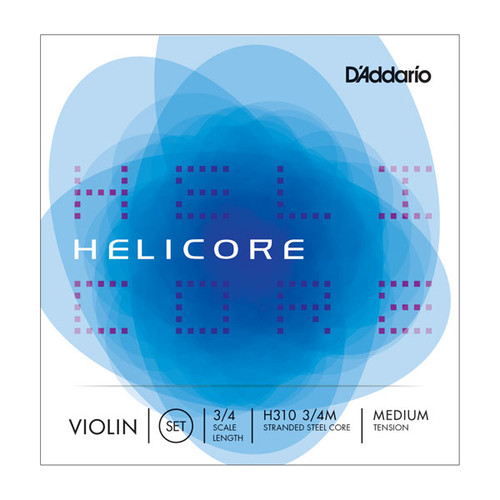 D'Addario Helicore Violin Strings 3/4 Scale; medium tension