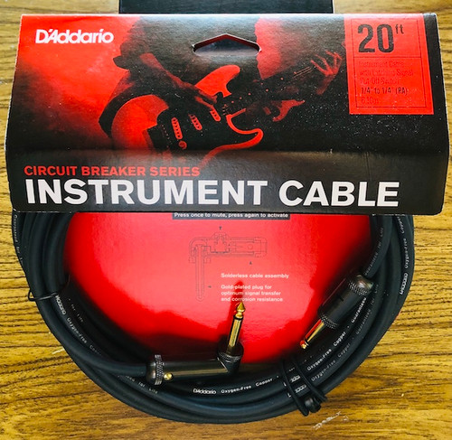 D'Addario Circuit Breaker Instrument Cables; 20-ft right angle