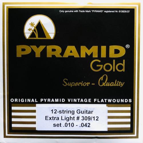Pyramid Gold Chrome Nickel Flatwound Guitar Strings; 12-String set 10-42