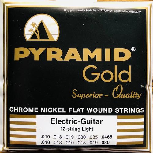 Pyramid Gold Chrome Nickel Flatwound Guitar Strings; 12-String set 10-46.5