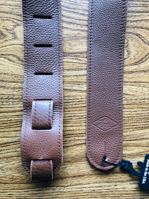 LM Double Standard Glove Leather Guitar Strap; brown