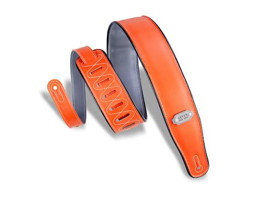 Levy's Double-sided Vinyl Guitar Strap; orange & gray