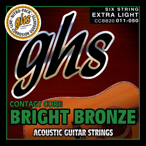 GHS Contact Core Bright Bronze Acoustic Guitar Strings; 11-50