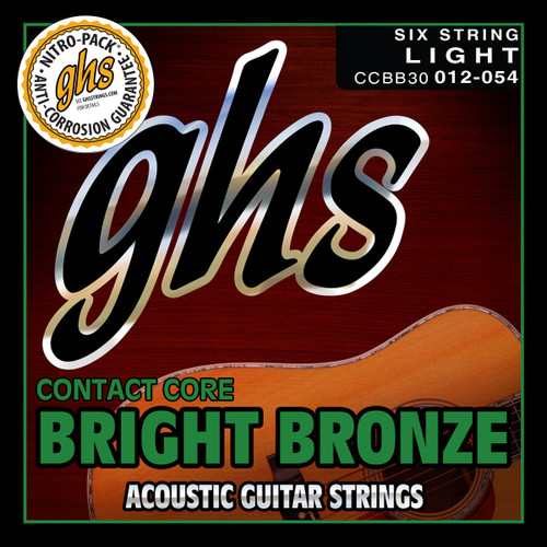 GHS Contact Core Bright Bronze Acoustic Guitar Strings; 12-54