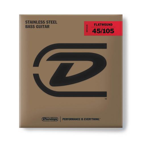 Dunlop Flatwound Stainless Steel Bass Guitar Strings; gauges 45-105