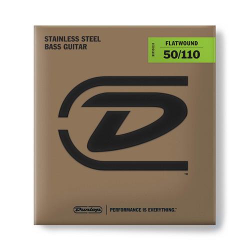 Dunlop Flatwound Stainless Steel Bass Guitar Strings; gauges 50-110