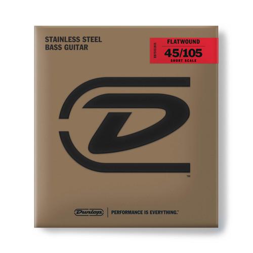 Dunlop Flatwound Stainless Steel Bass Guitar Strings; short scale gauges 45-105