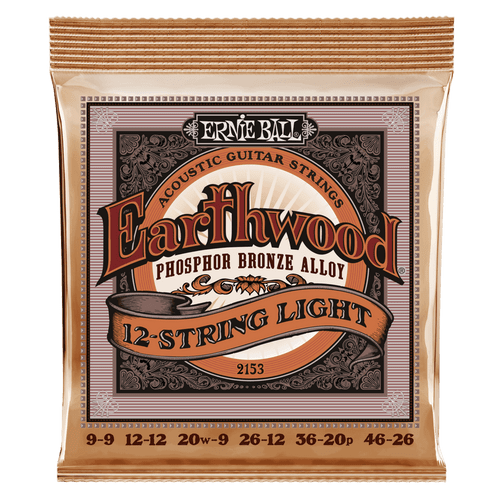 Ernie Ball Earthwood Phos Bronze Acoustic Guitar strings; 12-string set 9-46