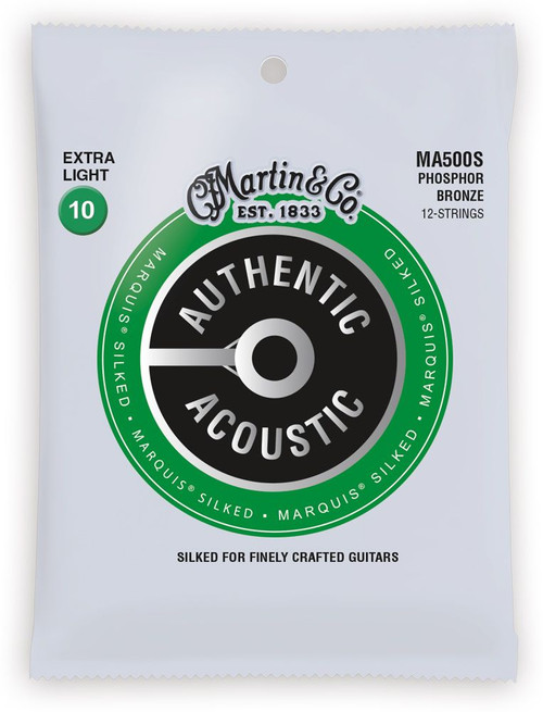 Martin Authentic Acoustic Marquis Silked Guitar Strings; 12-String set