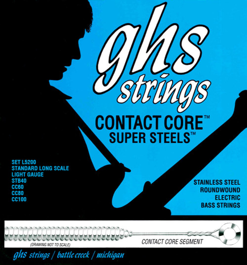 GHS Contact Core Super Steels Bass Guitar Strings 40-100