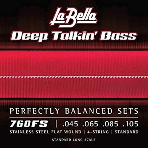 La Bella Deep Talkin' Bass Stainless Steel Flatwound Strings; 45-105