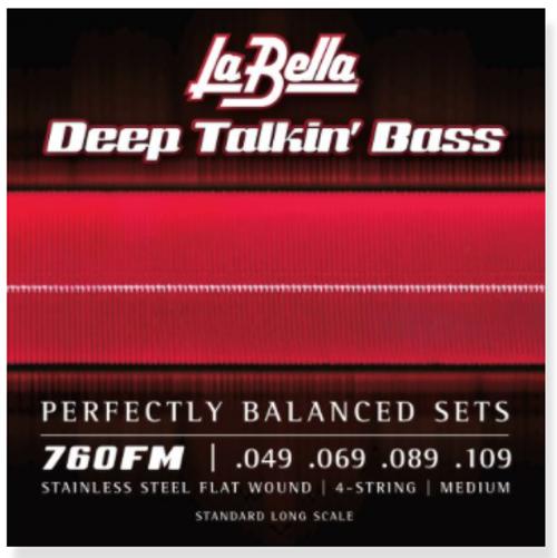 La Bella Deep Talkin' Bass Stainless Steel Flatwound Strings; 49-109