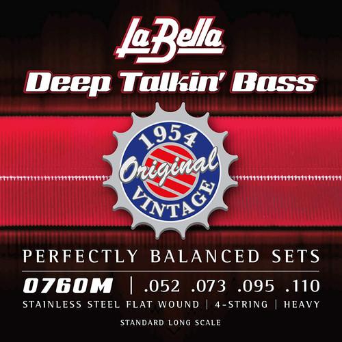 La Bella Deep Talkin' Bass Stainless Steel Flatwound Strings; 52-110