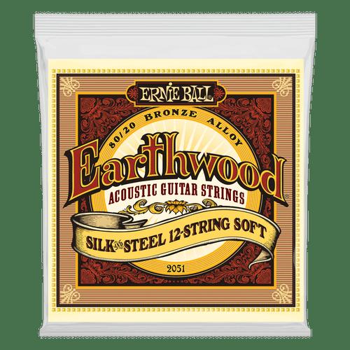 Ernie Ball Earthwood Silk and Steel 80/20 Acoustic Guitar Strings; 12-string soft 9-46