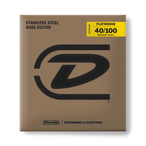 Dunlop Flatwound Stainless Steel Bass Guitar Strings; medium scale gauges 40-100