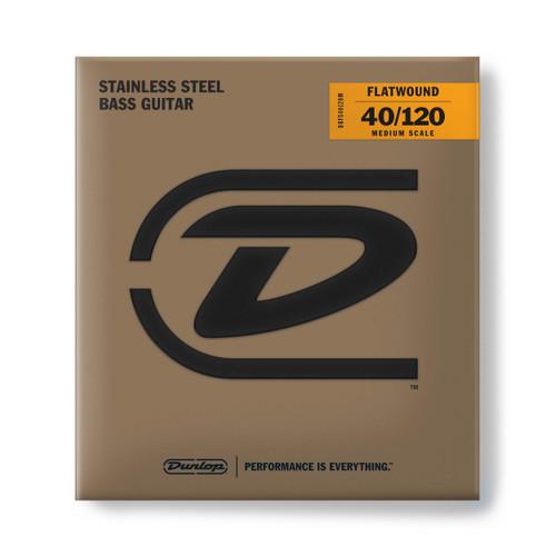 Dunlop Flatwound Stainless Steel Bass Guitar Strings; medium scale gauges 40-120