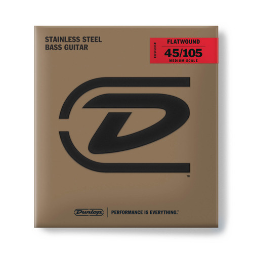 Dunlop Flatwound Stainless Steel Bass Guitar Strings; medium scale gauges 45-105