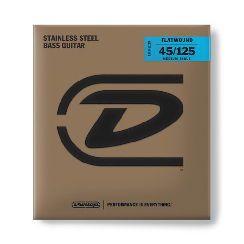 Dunlop Flatwound Stainless Steel Bass Guitar Strings; medium scale gauges 45-125