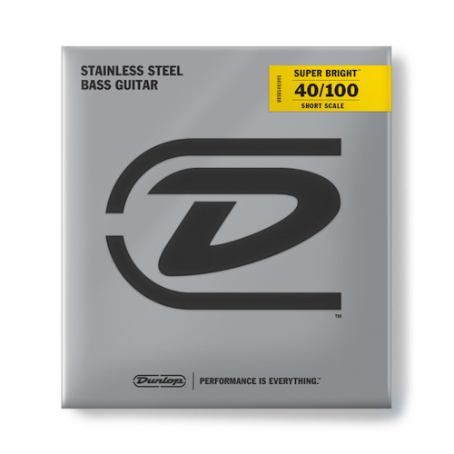 Dunlop Super Bright Stainless Steel Bass Guitar Strings; Short Scale 40-100