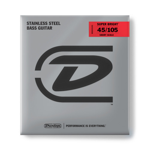 Dunlop Super Bright Stainless Steel Bass Guitar Strings; Short Scale 45-105