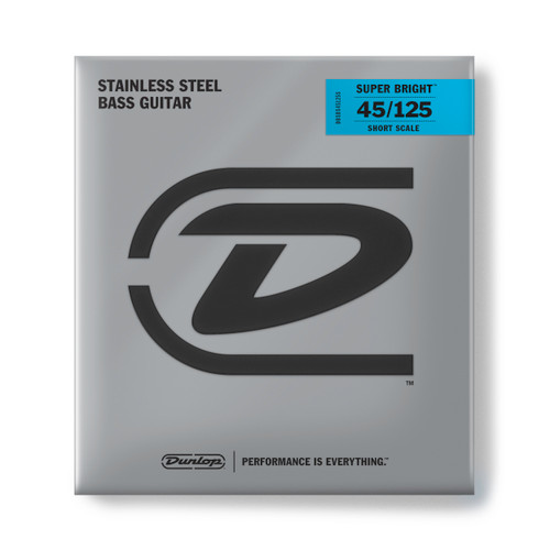 Dunlop Super Bright Stainless Steel Bass Guitar Strings; Short Scale 45-125
