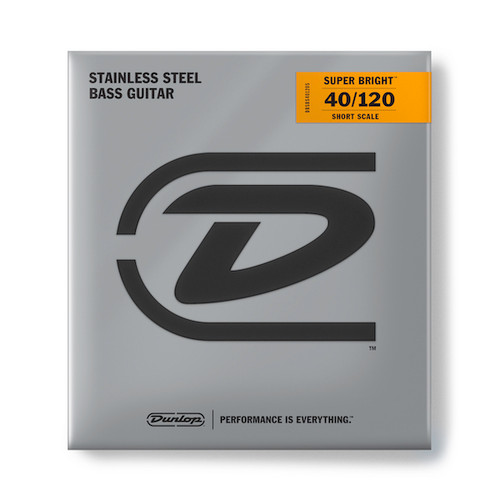 Dunlop Super Bright Stainless Steel Bass Guitar Strings; Short Scale 40-120