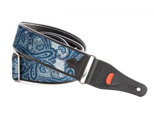 RightOn! Talisman Paisley Velvet Blue Guitar Strap