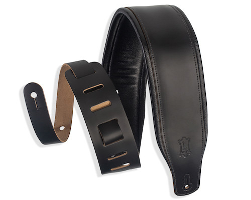 """Levy's 3"""" Garment Leather Padded Guitar Strap; Black"""