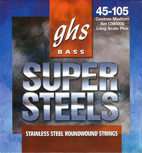 GHS Super Steels Bass Guitar Strings; long scale+ gauges 45-105