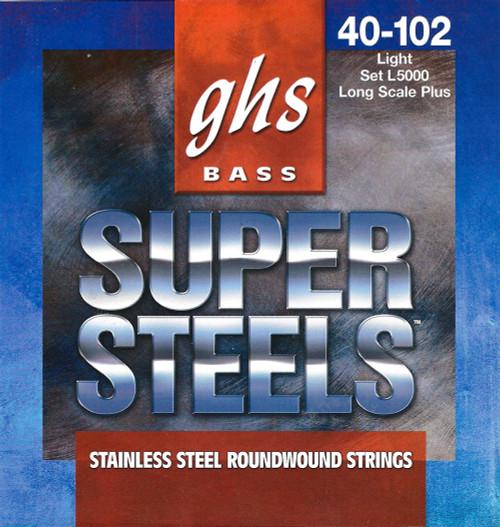 GHS Super Steels Bass Guitar Strings; long scale+ gauges 40-102