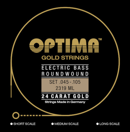 Optima 24K Gold Electric Bass Guitar Strings - short scale 45-105