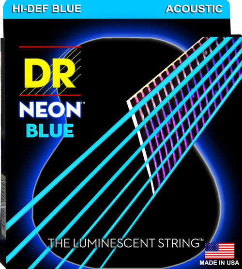 DR Neon Blue Acoustic Guitar Strings