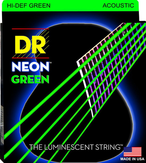 DR Neon Green Acoustic Guitar Strings
