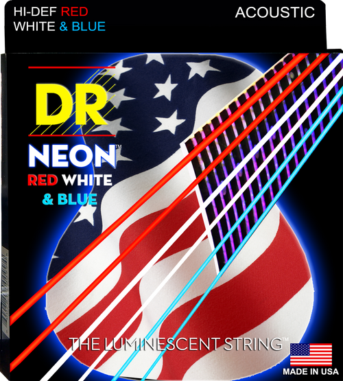DR USA Flag Neon Red/White/Blue Acoustic Guitar Strings