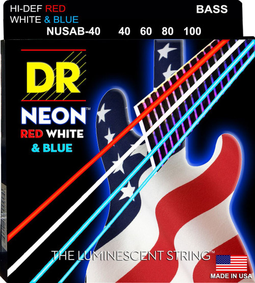 DR USA Flag Neon Red/White/Blue Bass Guitar Strings