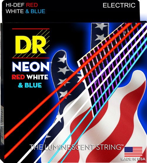 DR USA Flag Neon Red/White/Blue Electric Guitar Strings