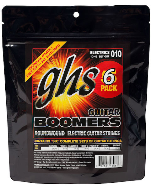GHS Boomers Electric Guitar Strings - 6 Pack