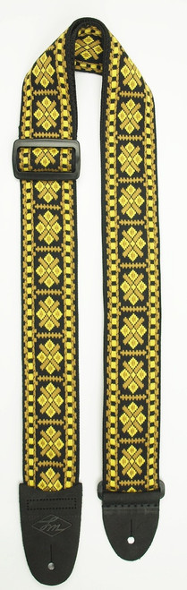 LM Retro Black & Gold Guitar Strap