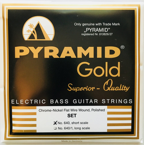 Pyramid-Gold Chrome Nickel Flatwound Bass Strings - short scale 40-100