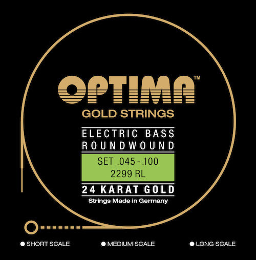 Optima 24K Gold Electric Bass Guitar Strings - long scale