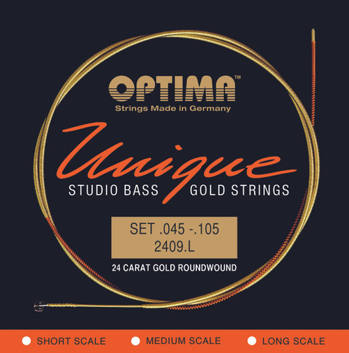 Optima Unique 24K Gold Studio Bass Guitar Strings - long scale 45-105