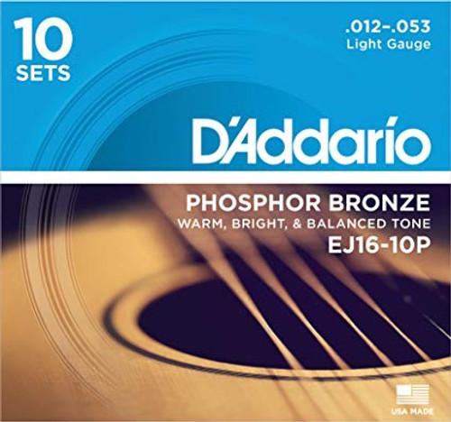 D'Addario EJ16 Phosphor Bronze Acoustic Guitar Strings 10-PACK