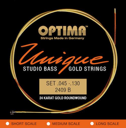 Optima Unique 24K Gold Studio Bass Guitar Strings - 5-String Super Long Scale