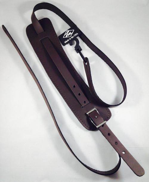 LM Vintage Style Leather Shoulder Pad Guitar Strap - Brown